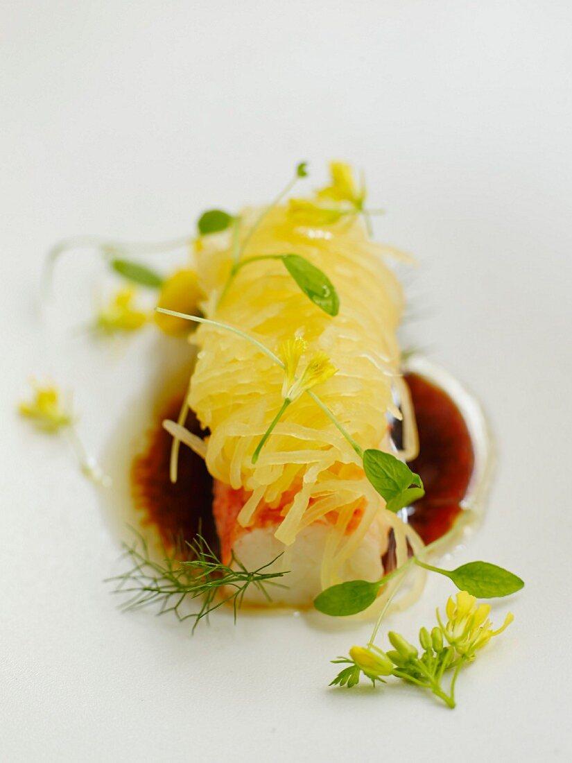 Roasted lobster with honeydew spaghettis,perfumed flowers