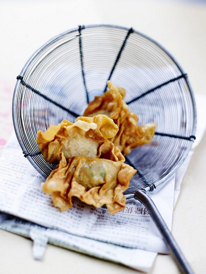 Fried crab raviolis