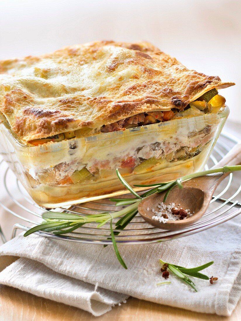 Flaked tuna and ratatouille lasagnes