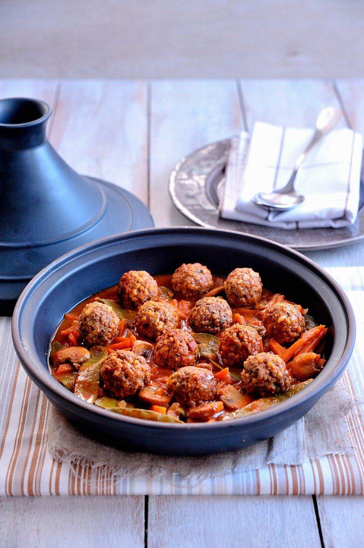 Quinoa keftas and vegetable tajine