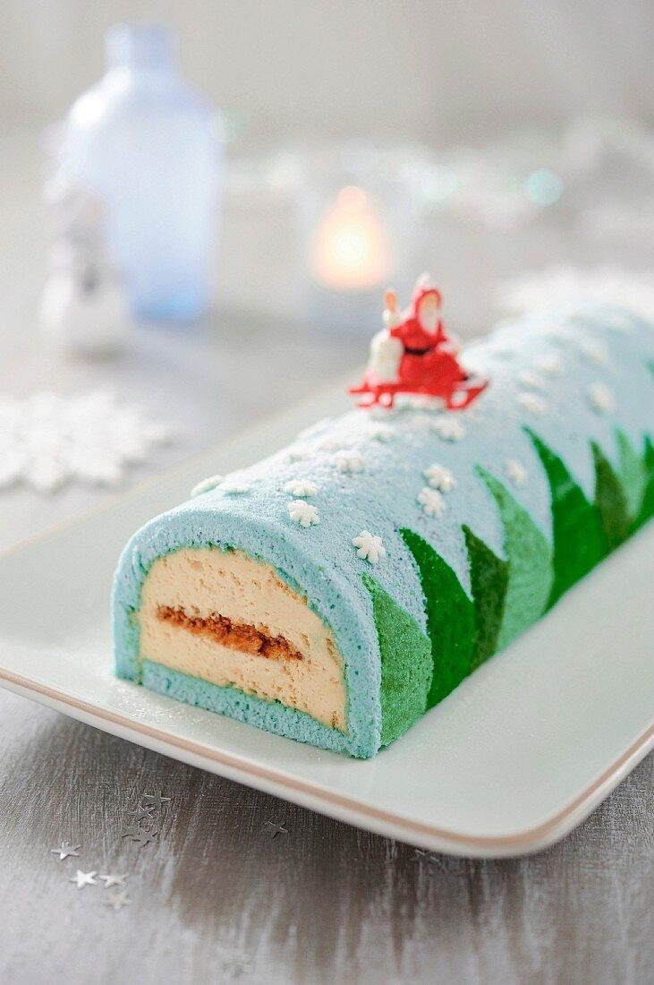 Christmas snow forest log cake