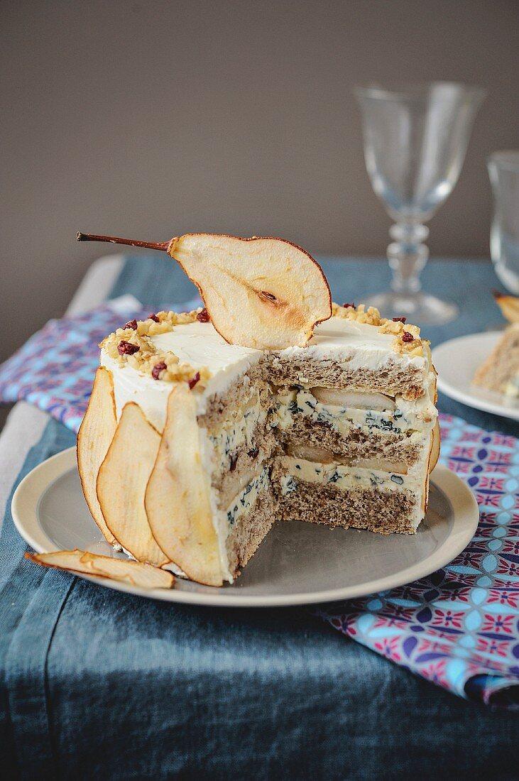 Roquefort,walnut and pear sandwich cake