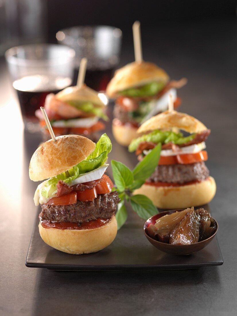 Brie,bacon and onion jam hamburgers