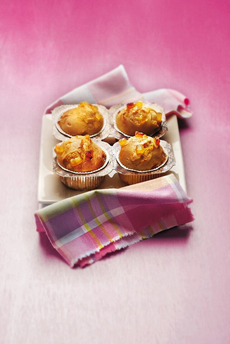 Orange and candied ginger muffins