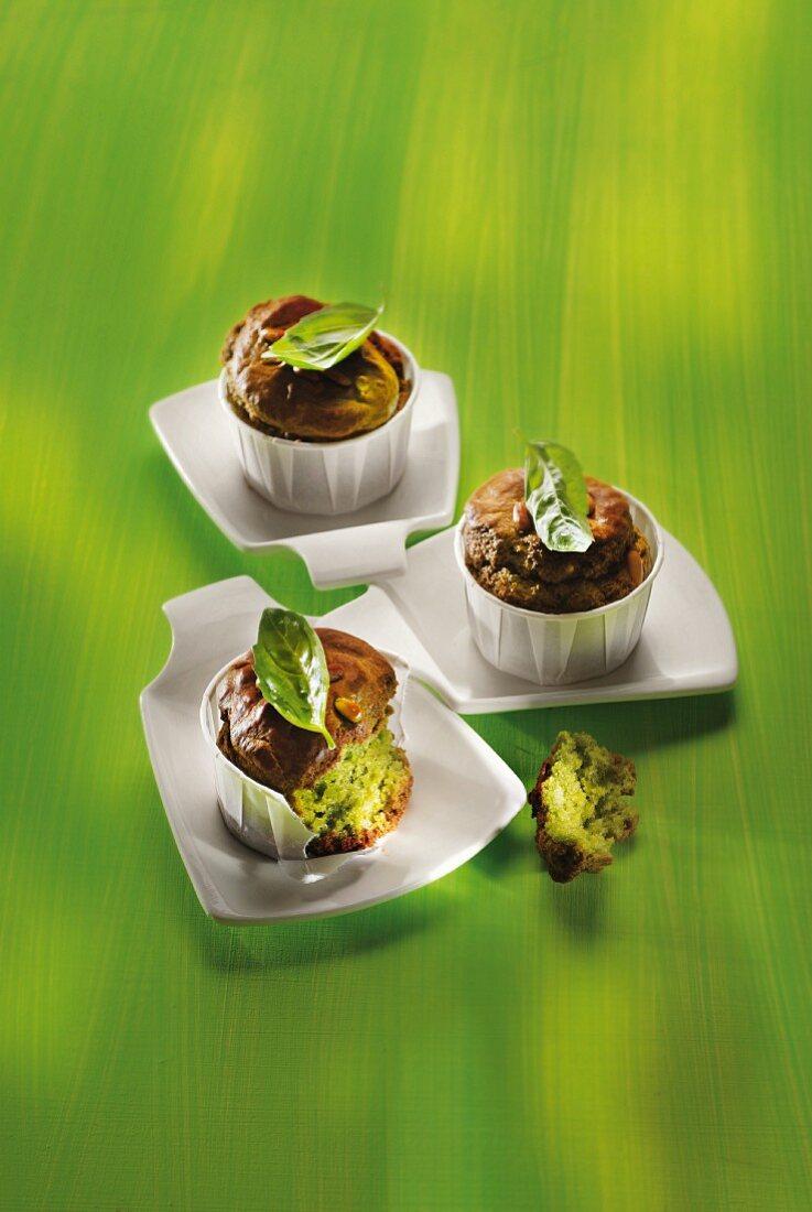 Pesto and pine nut muffins