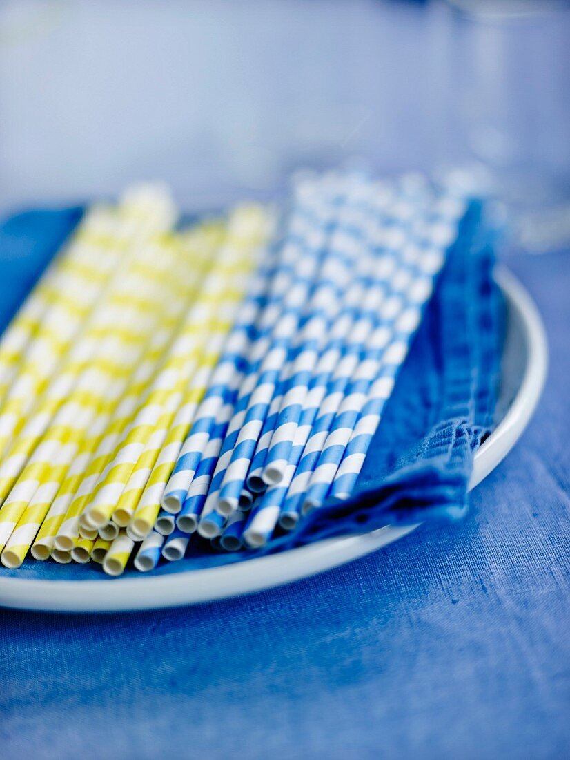 Blue and yellow striped straws