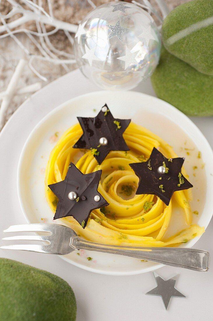 Mango tagliatelles marinated in lime,chocolate stars