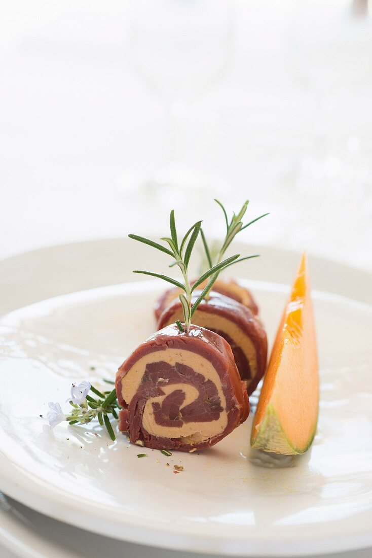 Smoked duck magret and foie gras roll