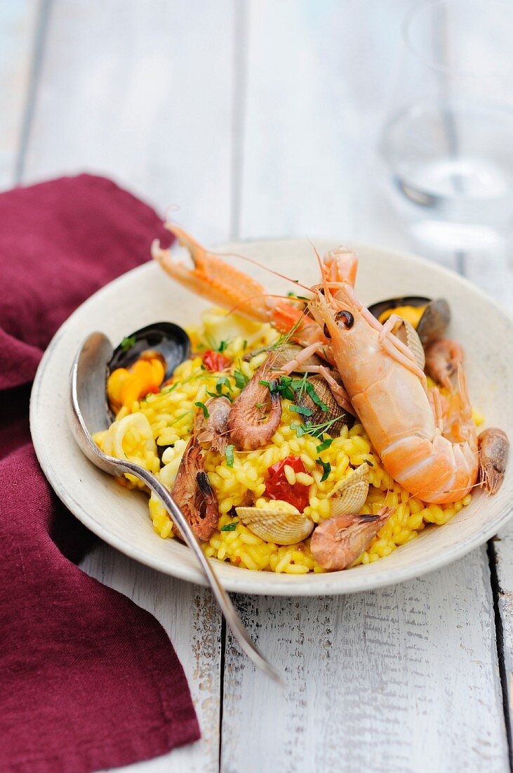 Paëlla-style seafood risotto