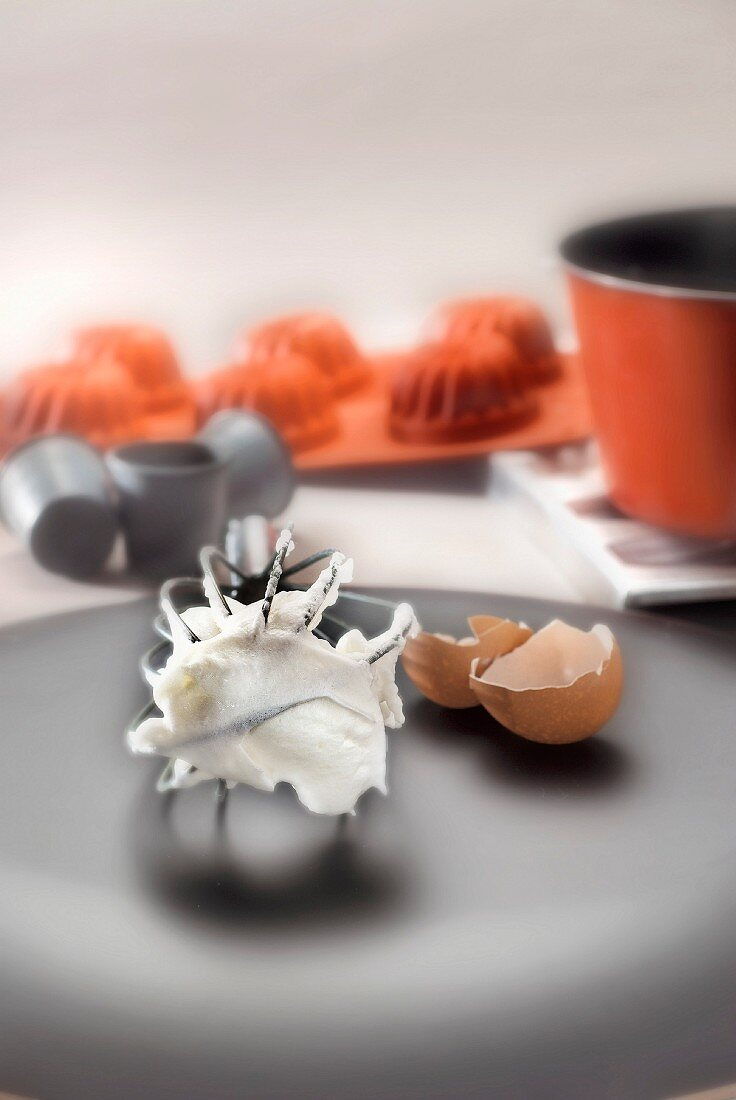 Pastry atmosphere with a whisk,silicone and tin moulds