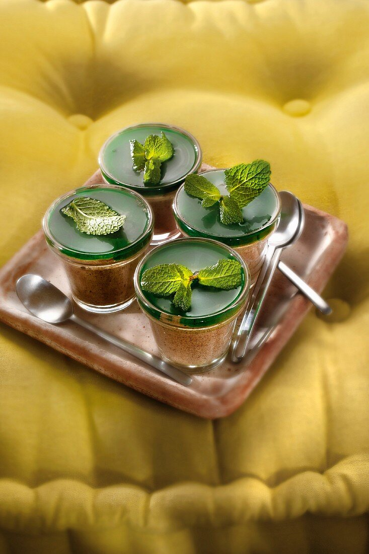 Chocolate mousse with mint syrup jelly