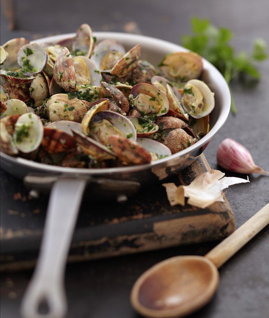 Littleneck clams sautéed with parsley and garlic