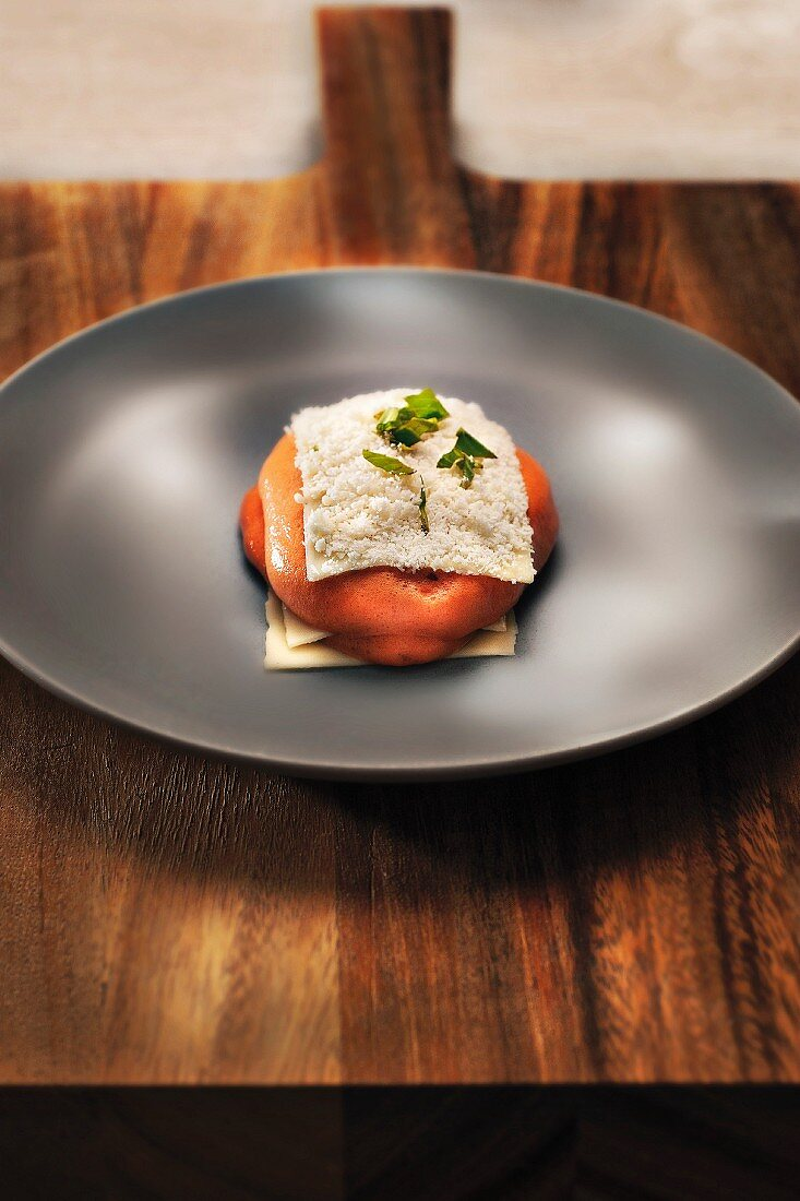 Lasagne with a twist with tomato and caper mousse, Parmesan cheese and basil