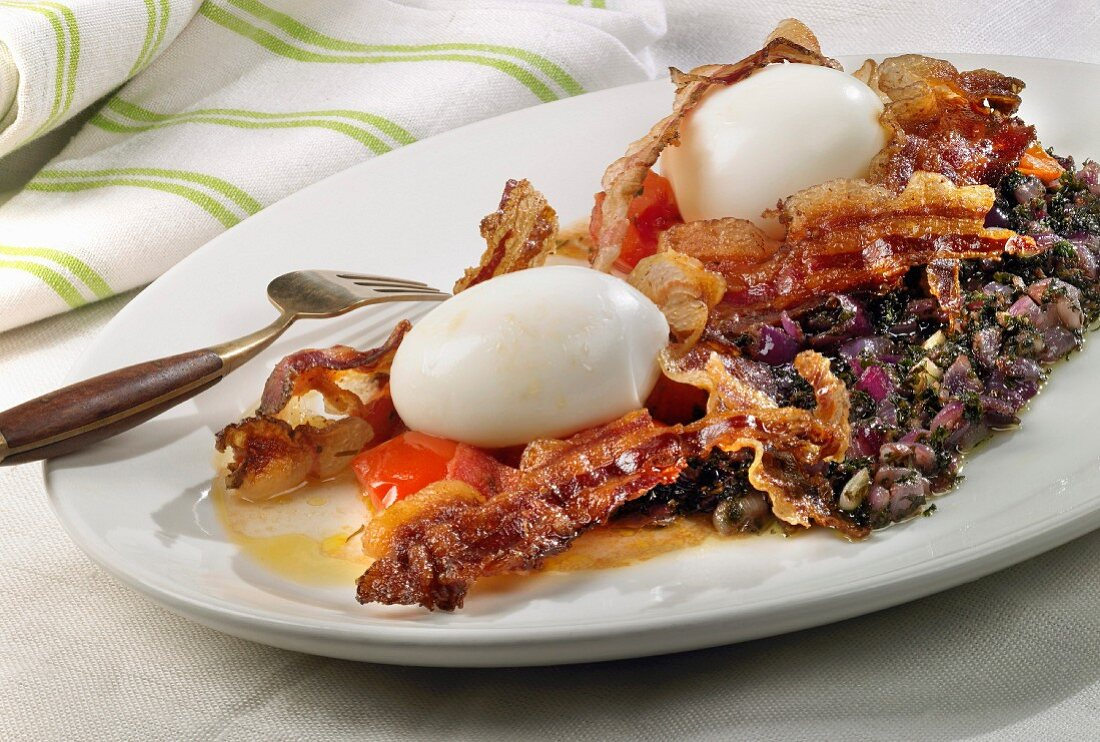 Soft-boiled egg with stewed red onions