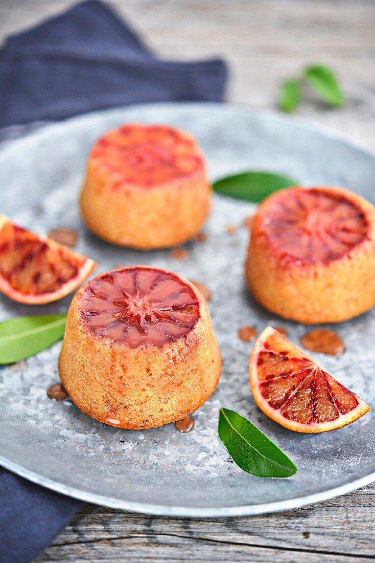 Small blood orange cakes