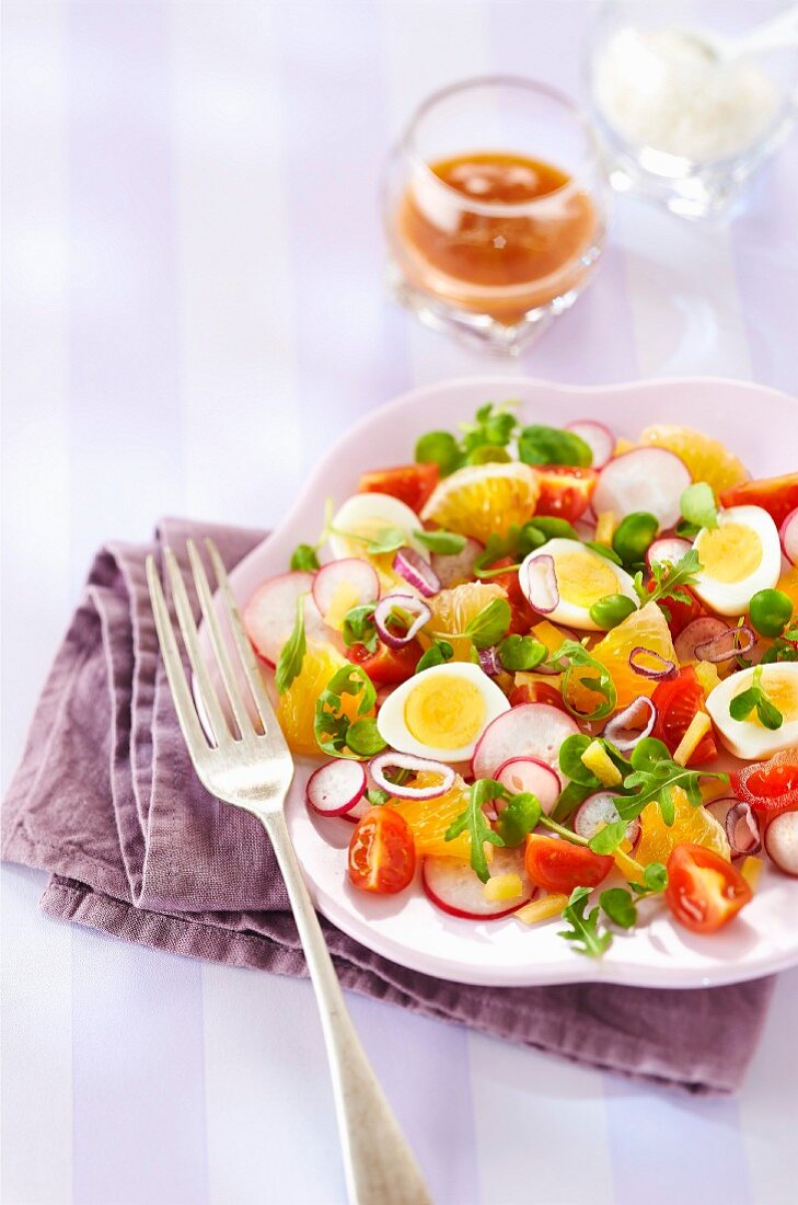 Ugli fruit, quail's egg, broad bean, pink radish and watercress spring salad