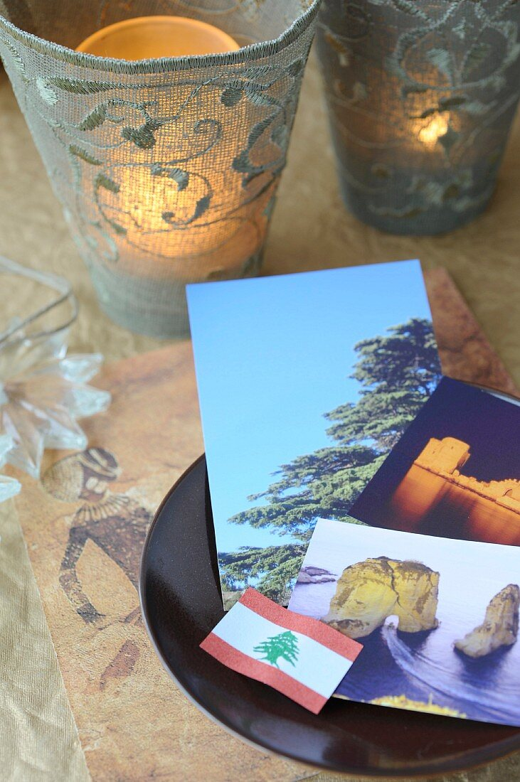 Lebanese atmosphere with photos and flag