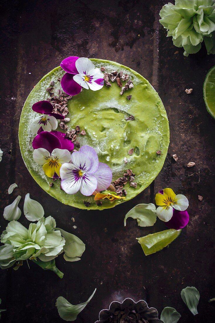 Lime an avocado cheesecake