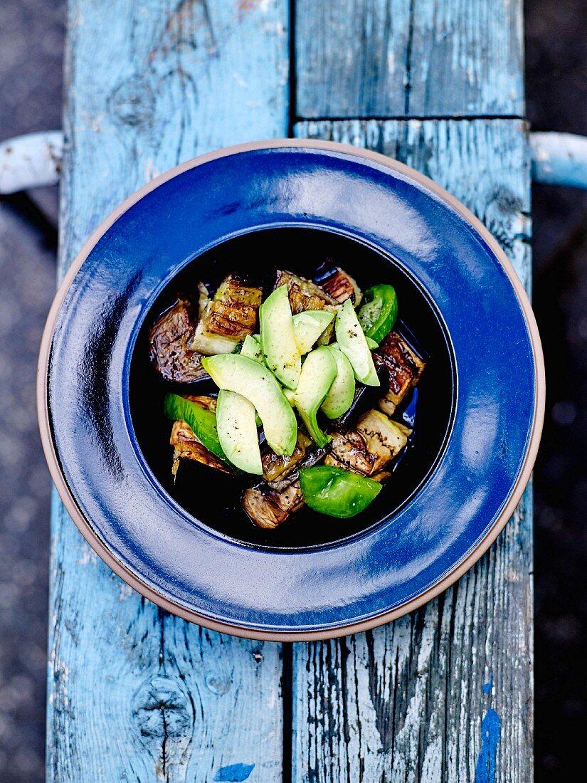 Roasted aubergine, green tomato and avocado salad