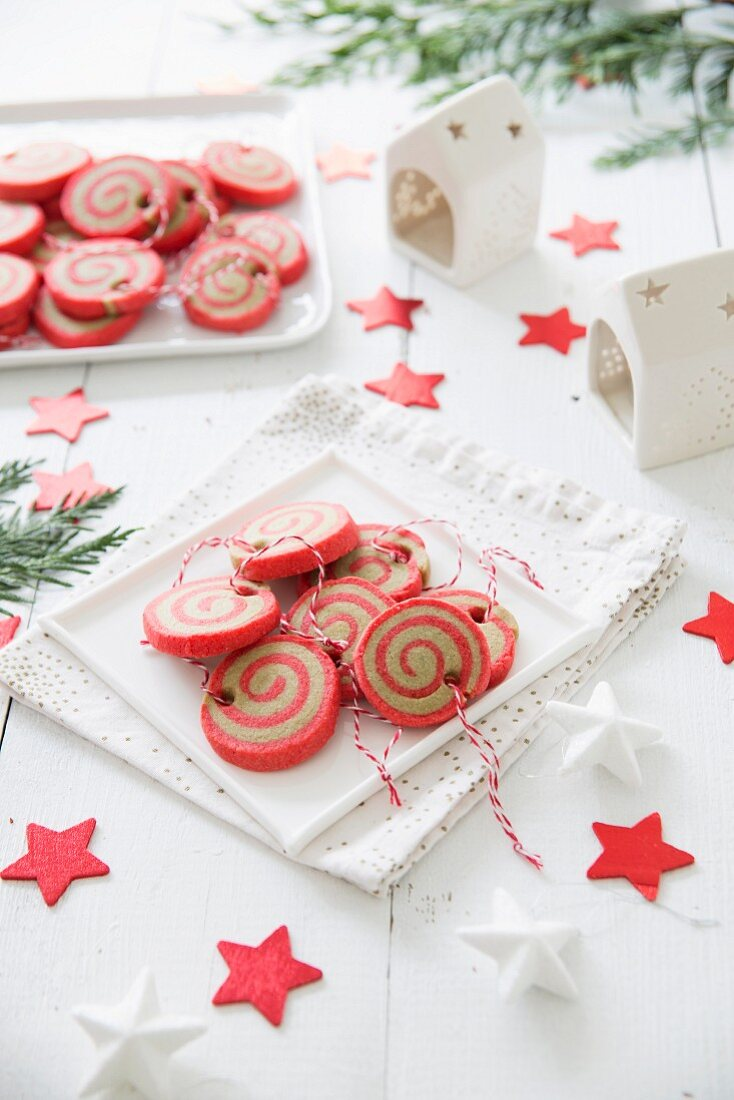Christmas ball spiral shortbreads