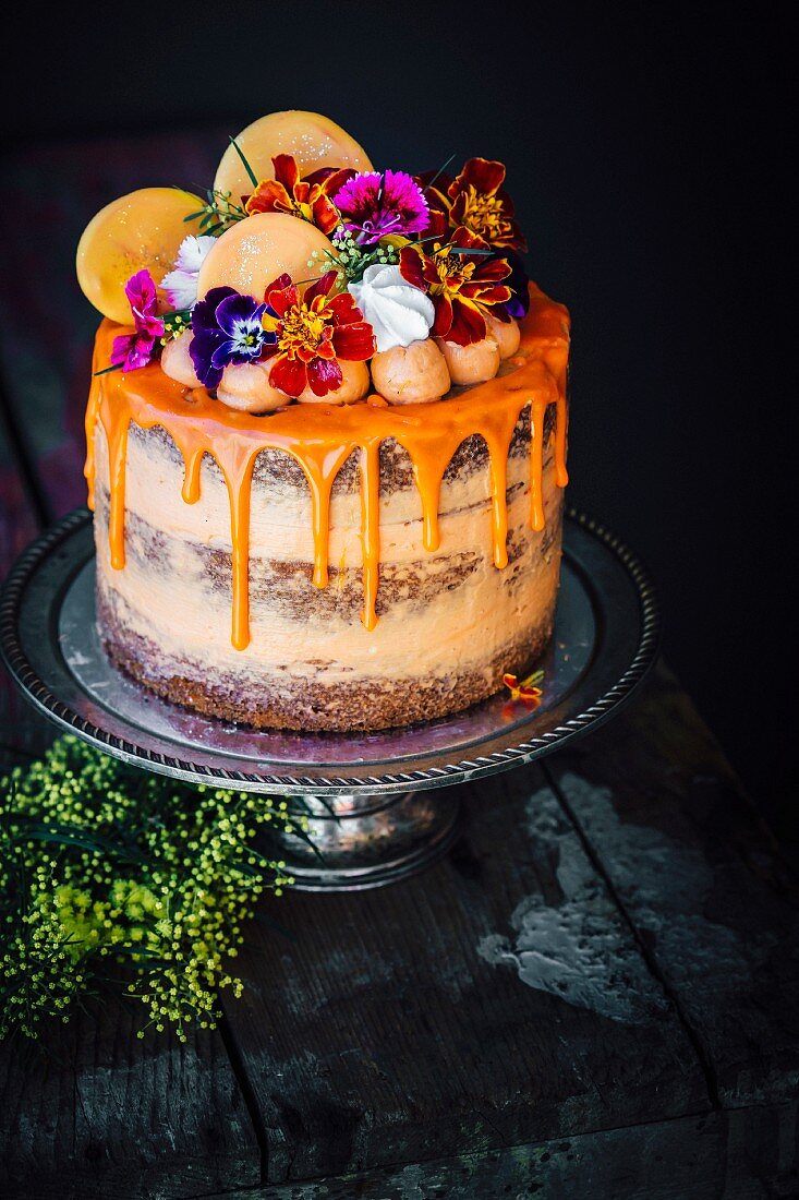 Carrot And Orange Cake Decorated Meringues And Flowers