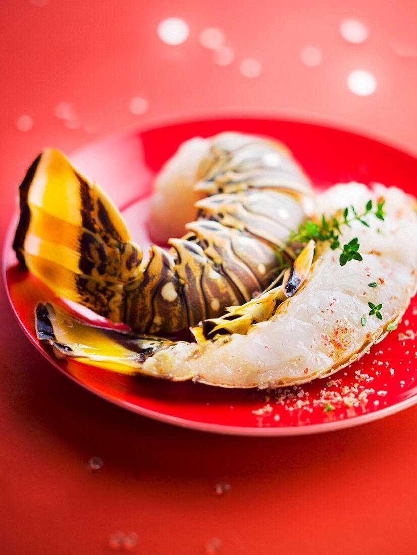 Raw spiny lobster tail