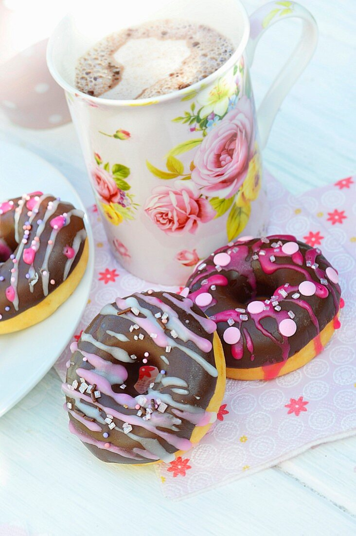 Donuts with chocolate and pink frosting
