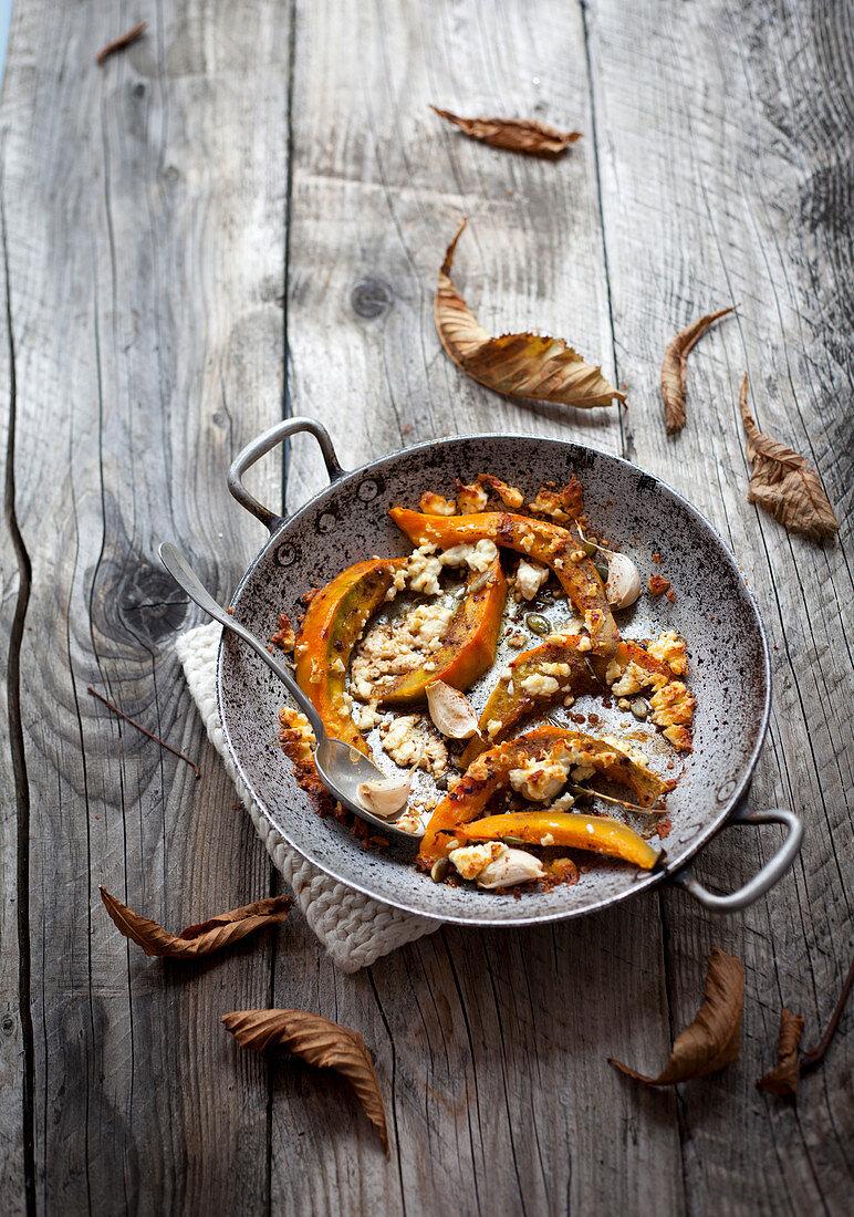 Baked pumpkin with feta