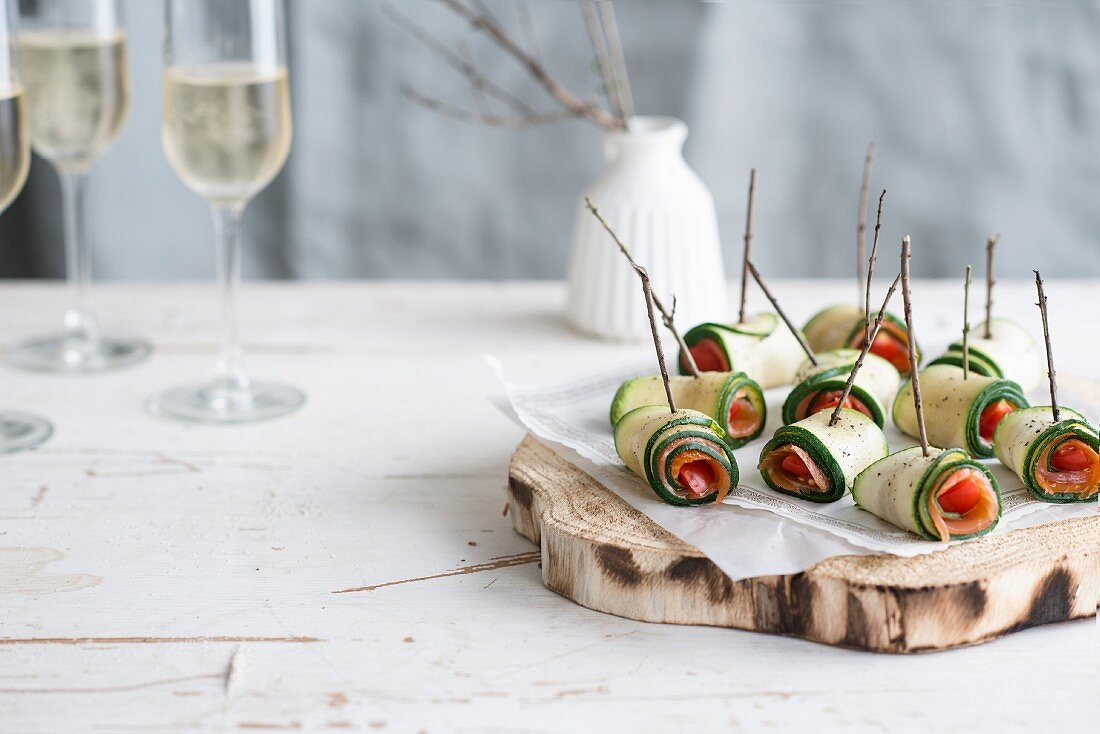 Courgette, smoked salmon and tomato rolls