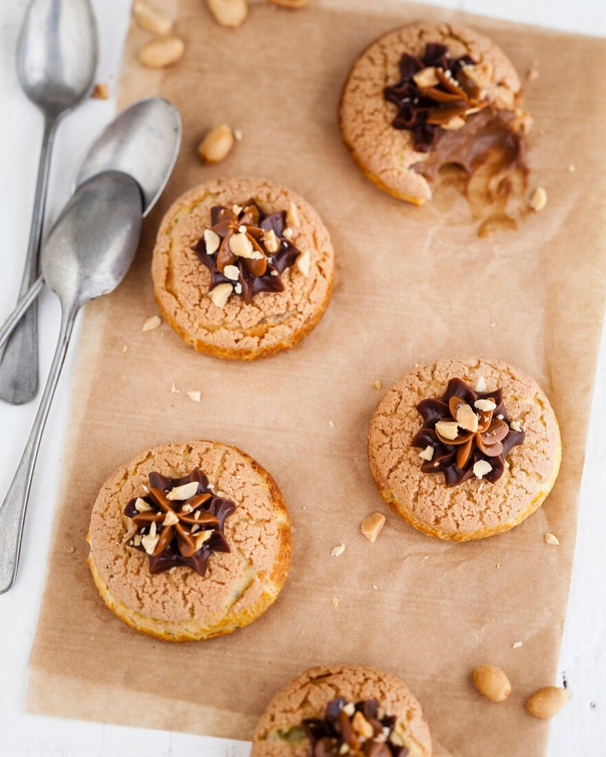 Choux craquelins with chocolate custard and peanut butter filling
