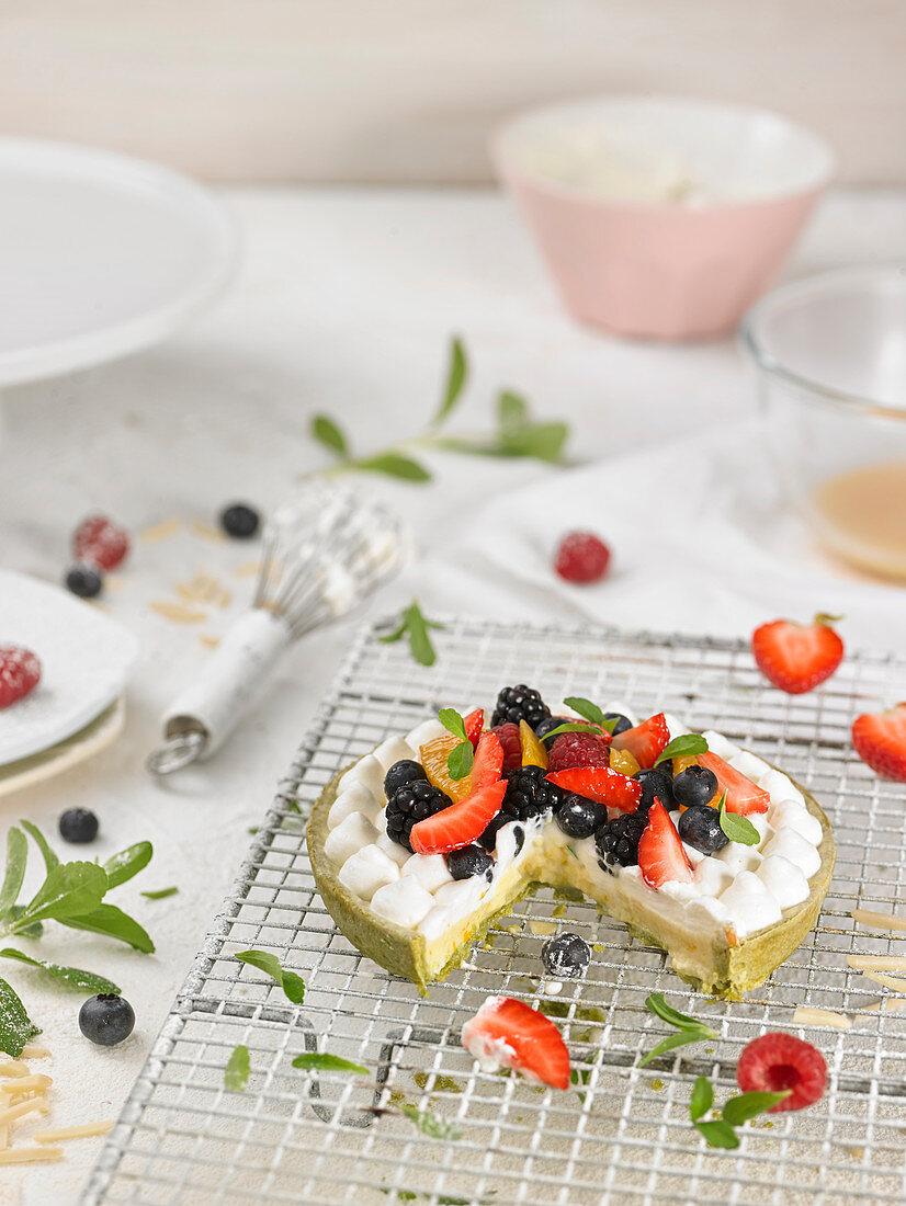 Green tea, orange and summer fruit cake