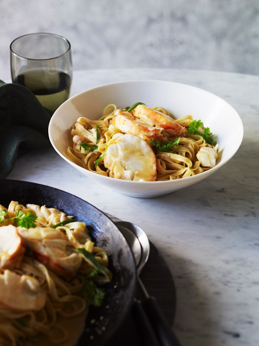 Fettuccine with creamy lobster