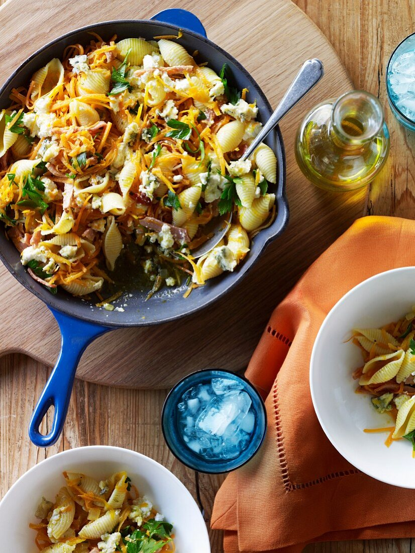 Carrot, bacon and ricotta pasta