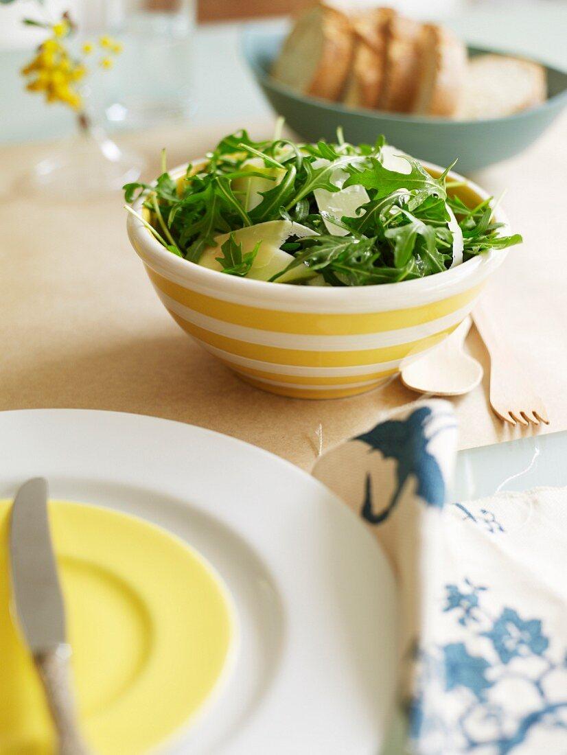 Rocket lettuce and parmesan flake salad