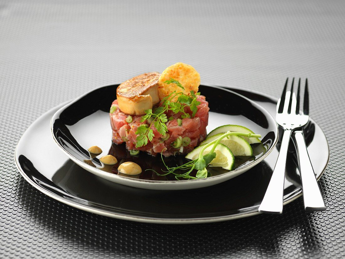Tuna tartare with pan-fried foie gras and Comté tuile