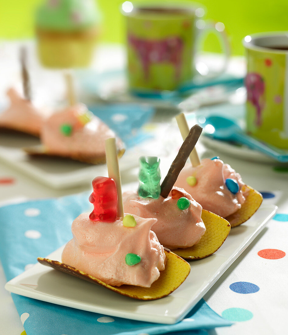 Chocolate Tuile,Candy Cotton And Mikado Biscuit Boats With Jelly Bears
