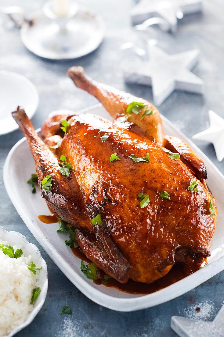 Turkey glazed with Coco-cola, perfumed white rice