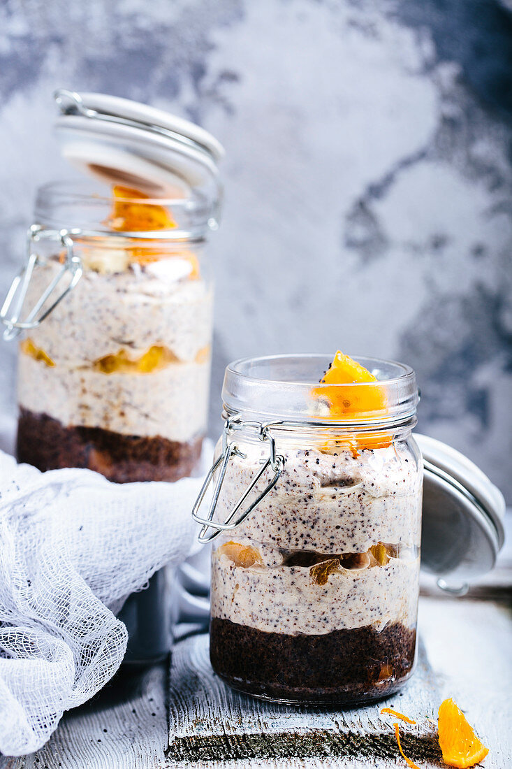 Trifle with chocolate and candied tangerines