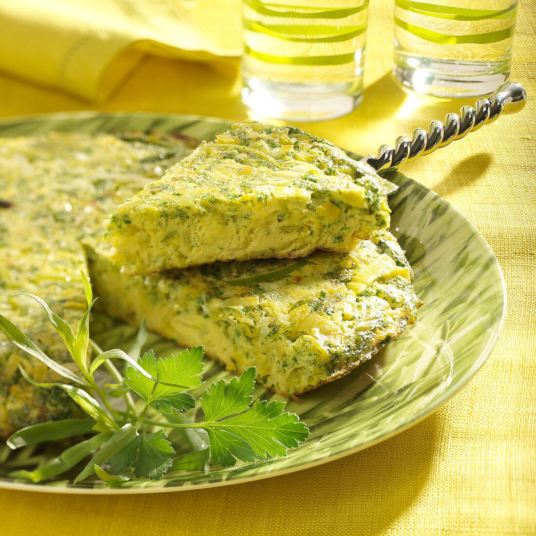 Leek and herb savoury cake