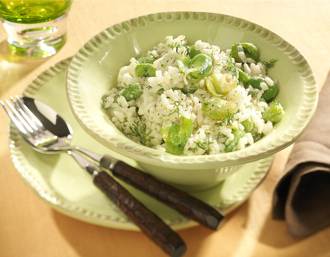 Broad bean and dill risotto