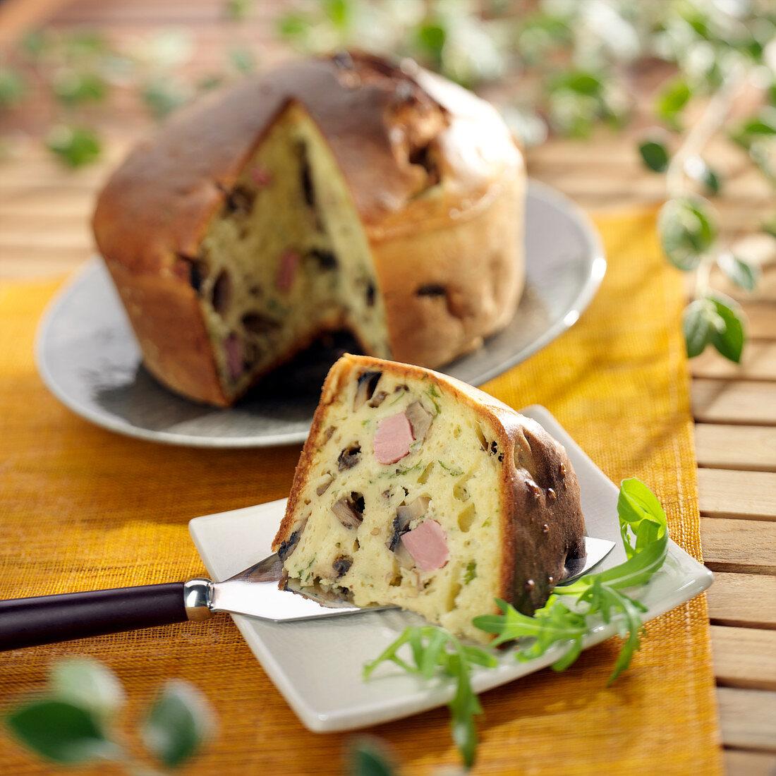 Ham and button mushroom Parisian cake