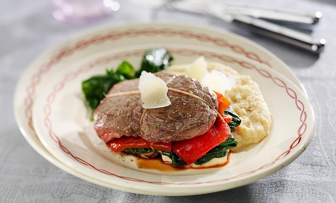 Steak, gouda, red pepper and spinach parcel,celeriac mash
