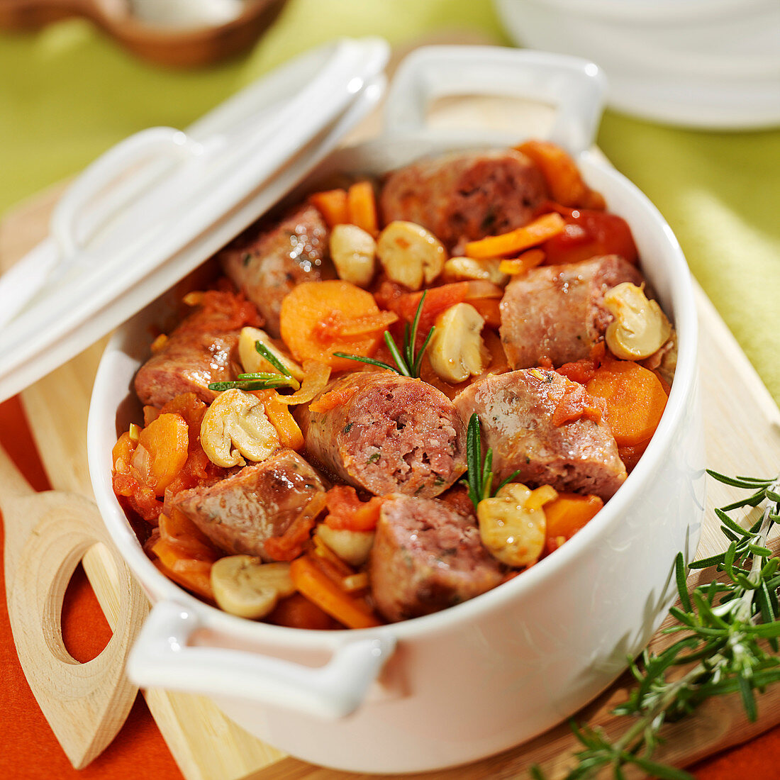 Simmered saucisses de Toulouse ,carrots and tomatoes