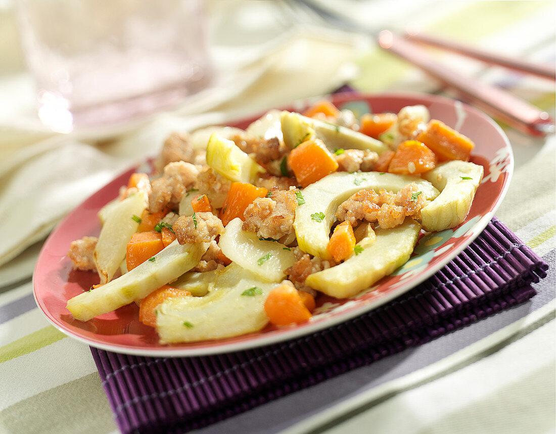 Sliced artichoke base,carrot and ground pork stir-fry
