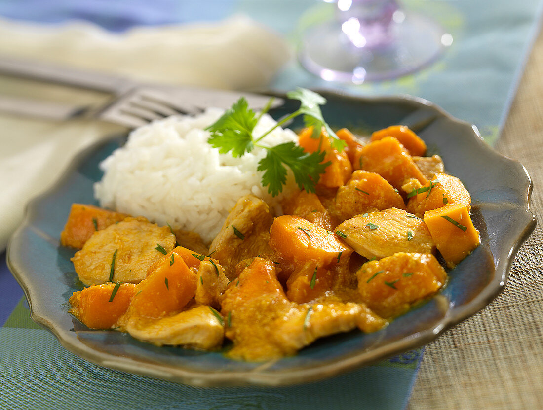 Chicken and pumpkin curry, basmati rice