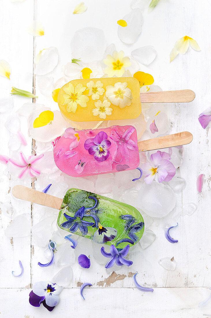 Flower Ice Pops :Orange Juice-Primrose,Pomegranate-Hyacinth-Pansy,Mint-Hyacinth