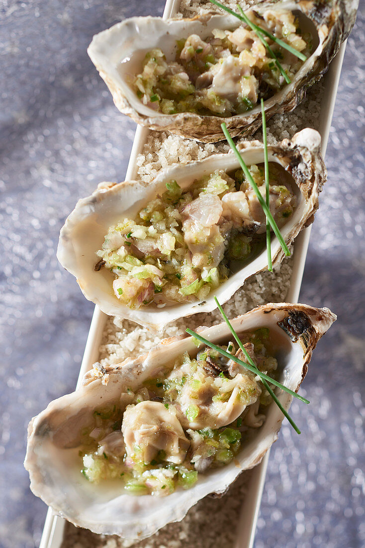 Oyster ceviche with lime and Breton pastis