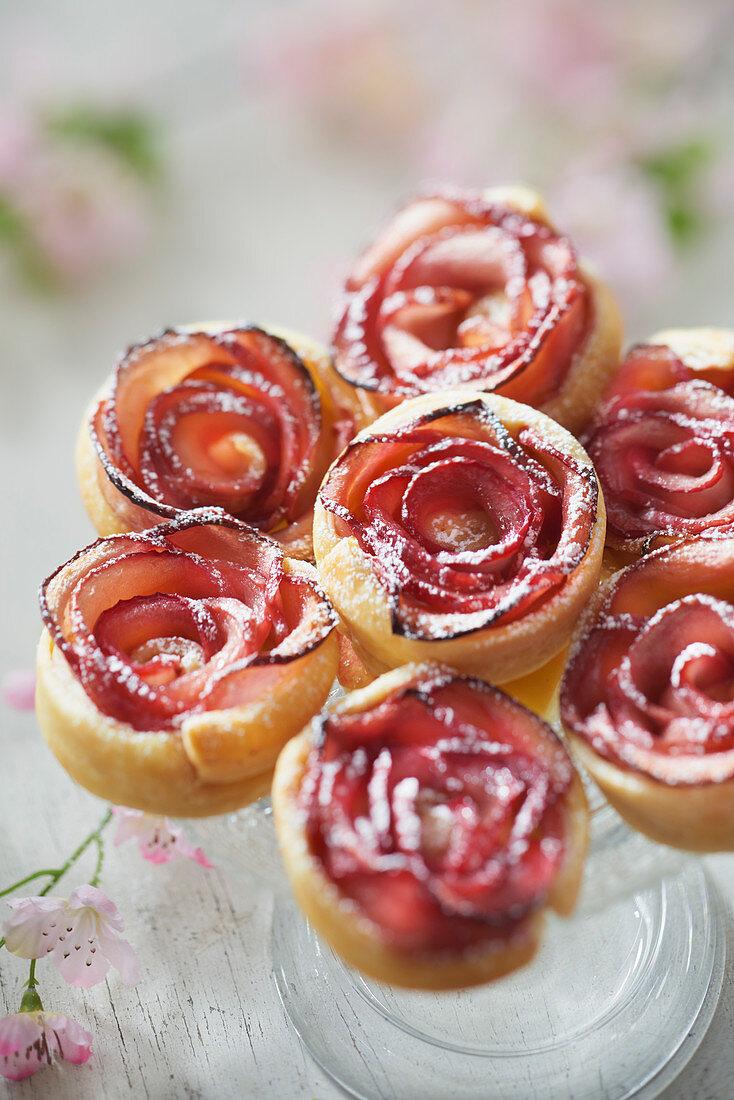 Mini Rosebud Apple Tartlets with Peach Compote