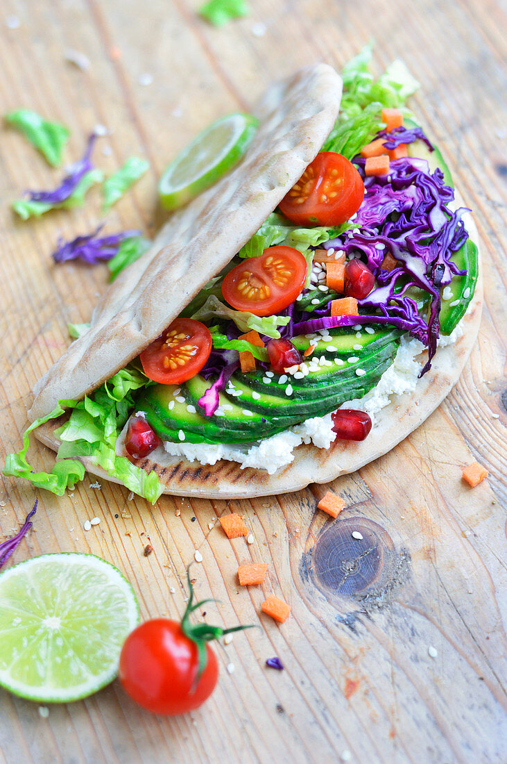 Avocado,cream cheese and vegetable sandwich