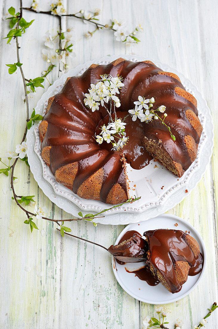 Chocolate wreath cake with glaze
